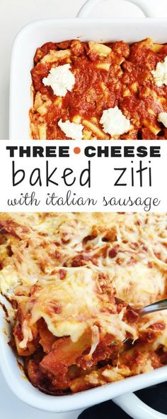 Cheesy, decadent, and hearty Three-Cheese Baked Ziti is baked to perfection with Italian sausage and quality store-bought marinara.