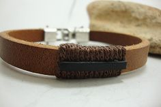 FREE SHIPPING  Men's leather bracelet Brown and by DenizKumu, $26.00