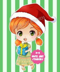 Anna (Chibis / Christmas by CrownDolls @deviantART) #Frozen