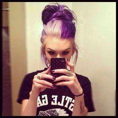 New Hair Blonde Purple Messy Buns Ideas Pastel Hair, Purple Hair, Love Hair, Great Hair, Awesome Hair, Color Fantasia, Half And Half Hair, Scene Hair, Dip Dyed Hair