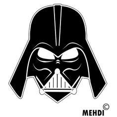 darth vader by ~mehdiinconnu on deviantART Star Wars Birthday, Star Wars Party, Star Wars Desenho, Star Wars Stencil, Darth Vader Face, Star Wars Classroom, Anniversaire Star Wars, Face Stencils, Vader Helmet