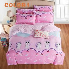 2017 New Cat Printed Bedding Set Doraemon Cartoon Bed Set With Pillowcases Shaun bed Cover Set Low Price Sjt075 #Affiliate