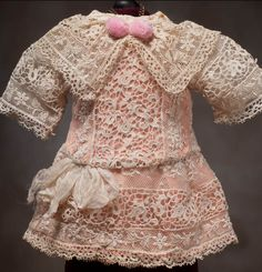 Clothes: Lace dress Antique Lace, Vintage Lace, Antique Dolls, Wedding Abaya, French Silk, Doll Wardrobe, Doll Costume, Doll Dresses, Baby Dresses