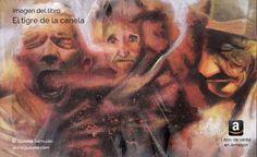 Pintura de los locos del libro El tigre de la canela. Trabajo con acrílico. Madera entelada.