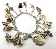 Vintage English Silver Charm Bracelet 18 Charms 5 Nuvo $245