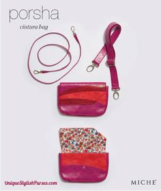 The Miche Porsha Cintura Bag has an added bonus—she comes with an extra strap so she can be worn as a Hip Bag. Raspberry, deep red and poppy faux leather has a retro vibe that's complemented by interior mushroom-print lining in white, red, orange and blue. Interior also features four card slots.