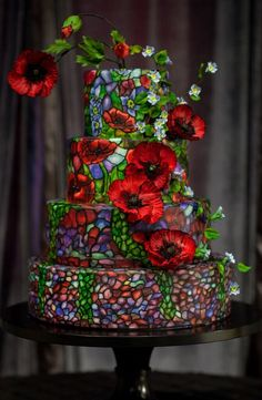 Mischief Maker Cakes I Stained Glass Cake with Sugar Poppies and Forget Me Nots. Poppies don't usually trip my trigger, but over all, this cake is stunning!
