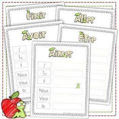 C'est le début de l'apprentissage des conjugaisons pour Miss Léa ... Je lui ai préparé ces tableaux afin de l'aider à retenir les verbes ...