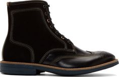 Paul Smith Jeans: Black Leather & Suede Wingtip Pearl Boots   SSENSE