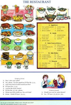 51 - THE RESTAURANT - Picture Dictionary - English Study, explanations, free…