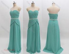 Turquoise homecoming dress, long prom dress, chiffon party dress, formal evening dress, long homecoming dress for juniors, bridesmaid dress on Etsy, $119.00
