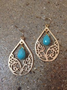 TrendsWeLove - Gold & Turquoise Stone Earrings, $18  www.trendswelove.com