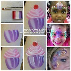Cupcake face painting by Making Faces & Tutus www.makingfaces.vpweb.com
