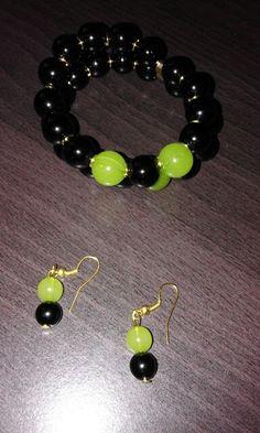 Pulseira e brincos preto e verde