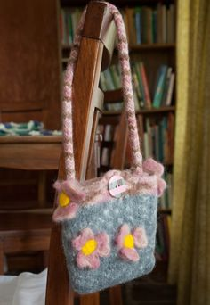 Felted Pink and Gray Floral Bag by StaceyLeighDesigns on Etsy, $25.00