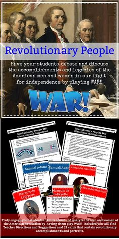American Revolutionary People WAR Game!!  Truly engage your students to think about and analyze the men and women of the American Revolution by  having them play WAR!