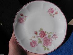 Vintage Sweden Mariehult plate saucer white pink roses decor scandinavian