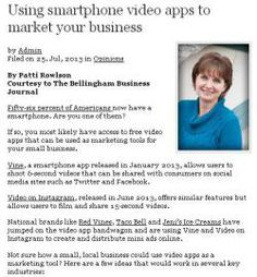 Using smartphone video apps to market your business - by Patti Rowlson #smartphone #marketing #instagram #vine