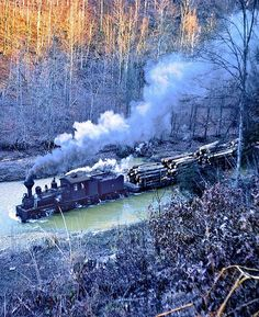 Steve Patterson has provided the most unusual photo of Shay #19 running longitudinally down a stream somewhere out on the Lilly Fork, West Virginia