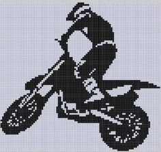Cross Stitch Charts Dirt Bike Cross Stitch Pattern - Dirt Bike Cross Stitch Pattern Size on 14 count roughly X Includes Cross Stitch Tips Motocross, Diy Crochet And Knitting, C2c Crochet, Cross Stitch Designs, Cross Stitch Patterns, Cross Stitching, Cross Stitch Embroidery, Broderie Bargello, Cross Stitch Heart