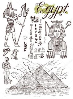 Pyramids and traditional Egypt symbols Vector Graphics Ancient Egyptian Art, Ancient History, Pyramids Egypt, Cairo Egypt, Egypt Tattoo, Egypt Culture, 6th Grade Art, Egypt Art, Free Hand Drawing