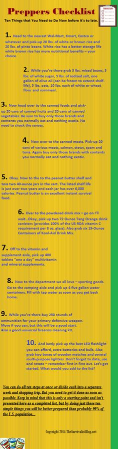 Infographic Ten Things to Do Now!