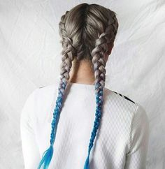 - ̗̀Name: ̖́- - Looking for Hair Extensions to refresh your hair look instantly? KINGHAIR® only focus on premium quality remy clip in hair. Boxer Braids Hairstyles, Braided Hairstyles, Cool Hairstyles, Dye My Hair, Your Hair, Blue Dip Dye Hair, Pelo Multicolor, Coloured Hair, Mermaid Hair