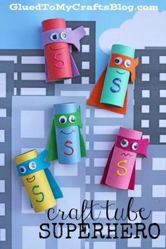 """Cardboard Craft Tube Superheroes - Kid Craft Tutorial - - We want you to fight the crime of """"boredom"""" with us today! Check out our creative Craft Tube Superhero kid craft idea tutorial! Paper Roll Crafts, Cardboard Crafts, Glue Crafts, Craft Stick Crafts, Paper Craft, Craft Ideas, Play Ideas, Rock Crafts, Diy Crafts"""