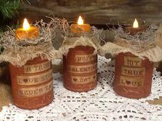 ~Primitive Decor~Set Of 3 Valentine Tin Candle Keeps~Crackled~Accents~ #NaivePrimitive #Handpaintedbyme
