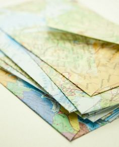 Map envelope notes. Atelier Joya: Repurposing Maps
