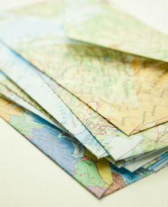 Map envelope notes. Atelier Joya: Repurposing Maps