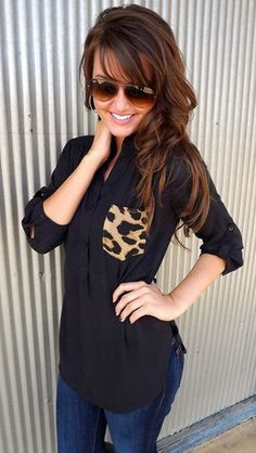 Black Patchwork Leopard Pockets Irregular Fashion Blouse