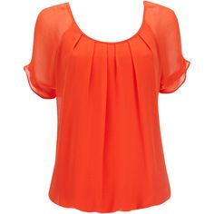 Orange Short Sleeve Blouson ($35) ❤ liked on Polyvore featuring tops, shirts, red top, orange top, chiffon short sleeve top, red short sleeve top and sleeve top