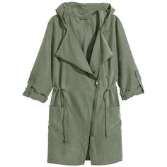 Yoins Khaki Green Trench Coat ($33) ❤ liked on Polyvore featuring outerwear, coats, coats & jackets, jackets, green, hooded trench coat, long sleeve coat, green coat, utility coat and trench coat