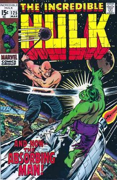 The Incredible Hulk #125 March, 1970. Herb Trimpe Cover And Pencils. Roy Thomas Story Marvel Comics Superheroes, Hulk Marvel, Marvel Comic Books, Marvel Art, Comic Book Heroes, Comic Books Art, Comic Art, Book Art, Marvel Characters