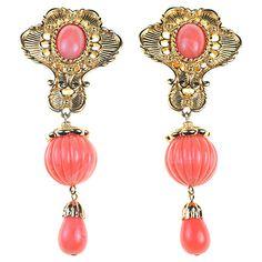 Buy Alice Joseph Vintage 1990s Jose Maria Berrera Gilt Drop Earrings, Coral Online at johnlewis.com