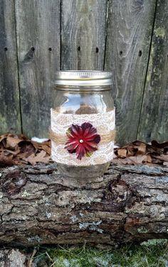 Rustic shabby chic mason jar burlap lace by VintageCreekStudio, $8.00