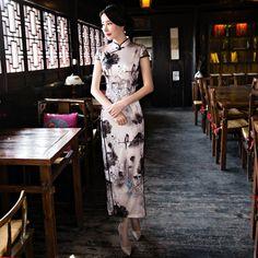 8a58941e33e Enchanting Floral Print Silk Dress Qipao Cheongsam - Qipao Cheongsam    Dresses - Women