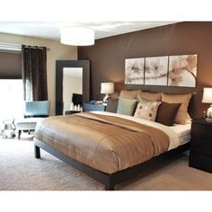 Modern Romantic Master - modern - bedroom - boise - by Judith Balis found on Polyvore Chocolate Bedroom, Chocolate Brown Bedrooms, Wall Colors, Color Walls, Paint Colors, Picture Headboard, Above Headboard Decor, Canvas Headboard, Brown Headboard
