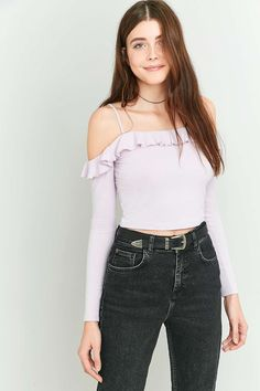 Pins & Needles Lettuce Edge Frill Cold Shoulder Top