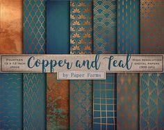 Copper teal digital paper scrapbook metallic pattern teal | Paper Farm on Etsy