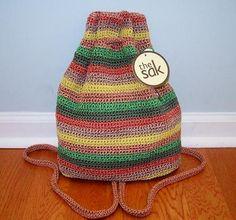 The Sak Casual Crochet Santa FE St Drawstring Backpack Shoulder Bag Multi Color | eBay