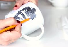 how to transfer your image into porcelain so you can use it as a template before drawing w/permanent marker