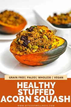 This healthy stuffed acorn squash recipe is a simple side dish that has all your favorite fall flavors! Stuffed with a low carb stuffing, t. Whole30 Dinner Recipes, Healthy Dinner Recipes, Vegetarian Recipes, Cooking Recipes, Going Vegetarian, Vegan Meals, Healthy Options, Acorn Squash Recipes Healthy, Vegan Thanksgiving Dinner