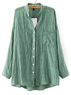Green Stand Collar Pockets Loose Blouse -SheIn(abaday)