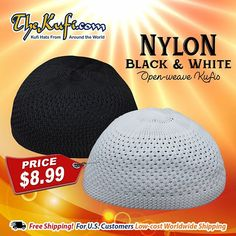 Open-weave Nylon Topi Muslim Kufi Prayer Skull Caps in White or Black FREE  U.S. 63f592ba36f0