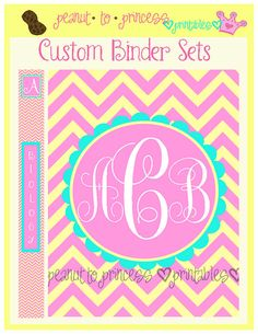 Custom Chevron Monogram Binder Set - 1 Printable Cover Insert and 6 Binder Edges - Digital Printable - Choose Colors and Personalization
