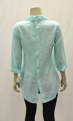 NWT PAPERWHITE Ocean Blue Linen 3/4 Sleeve Button Down Shirt Sz 16 200668A-E #Paperwhite #ButtonDownShirt #Casual