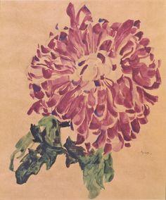 "tremendousandsonorouswords: "" Egon Schiele, Yellow Chrysanthemum / White Chrysanthemum / Red Chrysanthemum, 1910 """