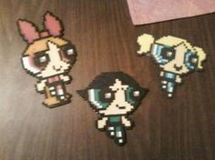 Powerpuff Girls Blossom, Bubbles, and Buttercup Perlers